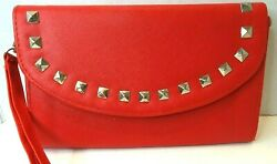 Ladies Red Clutch Handbag with Square Shinny Metal Studs 6quot; x 9quot; $9.95
