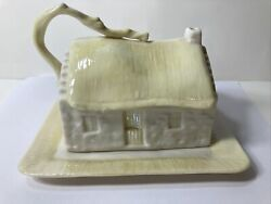 Vintage Belleek Butter Cheese Dish Porcelain Cottage Made In Ireland