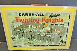 1-vintage Marx Fighting Knights-action Carry-all-metal Tin Litho-playset No.4635