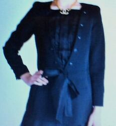 Authentic Fitted Jacket, Black Pique With Chiffon Details 40 / 8-10