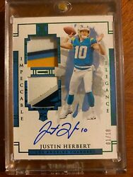 Justin Herbert 2020 Impeccable Rookie Logo Patch Auto Rc Green 1/10 Chargers