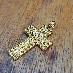 24k Solid Gold Crucifix With Saint Benedict Cross Pendant 999 By Estherleejewel