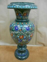 21 Inch Green Marble Flower Vase With Multi Stones Decorative Pot Best For Gift