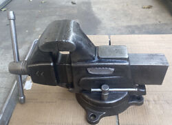 """Vintage Craftsman 4"""" Bench Vise With Swivel Base - Made In Usa"""