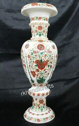 24 Inches Marble Inlay Flower Pot With Carnelian Stone Work Planter Office Decor