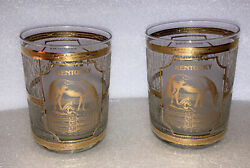Vintage Kentucky Derby Gold Inlay Whiskey Glass Set Of 2 New