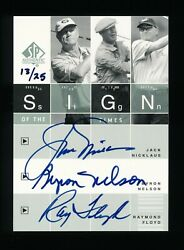 Jack Nicklaus - Byron Nelson - Ray Floyd Spa Sott Sign Of The Times /25 Auto