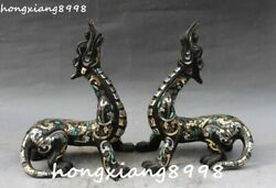 Old Bronze Ware Gold Gilt Silver Turquoise Pixiu Brave Troops Beast Statue Pair