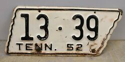 Vintage 1952 Tennessee Motorcycle License Plate - Gibson County Original Paint