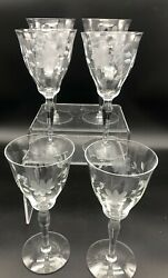 Fostoria Wine Water Goblets Etched Cut Floral Wild Rose Set Of 6