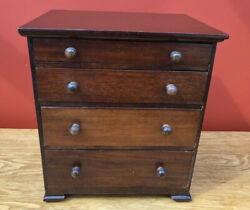 Lovely Antique Mahogany Collectors / Miniature Chest Of Draws