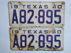 1940 Texas License Plate Pair A82 895 Yom Eligible