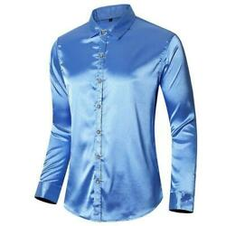 Menand039s Silk Satin Glossy Shirt Long Sleeve Button Front Slim Fit T Shirts Summer