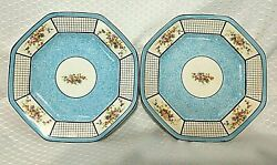 Steubenville China Blue Floral Check Pattern 8.25 Salad Plate Set Of 2