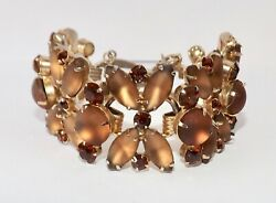 Vintage Juliana D And E Frosted Rhinestone Bracelet Book Piece