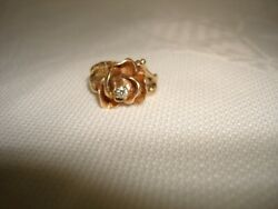 Vintage Unique Collectible 60's 14k Yellow Gold Diamond Hand Made Ring Size 5.5