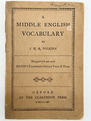 A Middle English Vocabulary 1st Edition - Tolkien 1922 Hobbit Lord Of The Rings