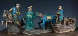 12 China Ancient Color Porcelain Xiaohe Chase Hanxin Horse Boatman Statue Set