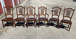 Antique Nicholas And Stone Windsor Chair Dining Room Set 6 Wooden