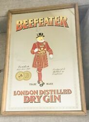 Vintage Beefeater Mirror Bar Sign London Distilled Dry Gin Wall Decor. Man Cave