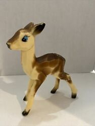 Rare Vintage 1960s Hard Plastic Deer Spotted Fawn Christmas Decoration