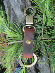 New Handmade Water Buffalo Leather Handmade Key Fob With Round Carbiner