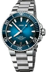 New Oris Aquis Date Blue Dial Stainless Steel Menand039s Watch 40077634135mb