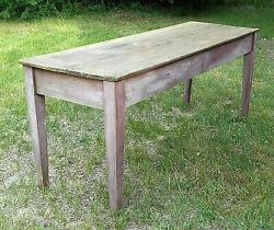Antique Earl 19th Century Taper Leg 6and039 Country Harvest Table In Original Paint
