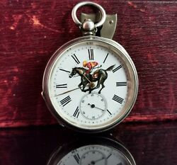 Antique Victorian Silver Pocket Watch Horse Racing Enamelled
