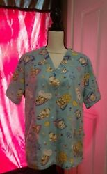 Large Women#x27;s STARS of Best Medical Scrub Top Blue Puppies