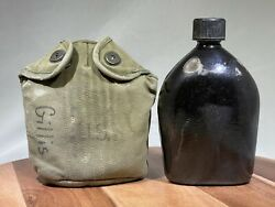Wwii 1942 Us Army Black Enamel Vollrath Canteen With Cover
