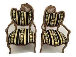 Set Of2 Antique French Style Chairs With Gianni Versace Black Gold Velvet U