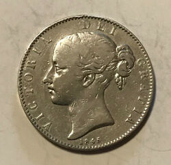 Great Britain - 1845 Large Silver Victorian Crown - Popular