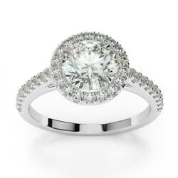 Inspiring Unique 1.25 Ct Si1 G Accented Diamond Round Halo Ring 18 K White Gold