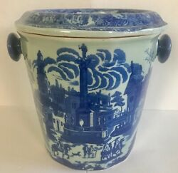 """Vintage Victoria Ware Flow Blue Large Ironstone 2-piece Chamber Pot England 11""""h"""