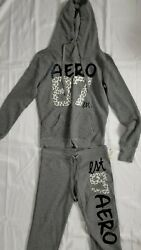 New Aeropostale Heather Gray Hoodie And Sweat Pant 2 Piece Set Size S