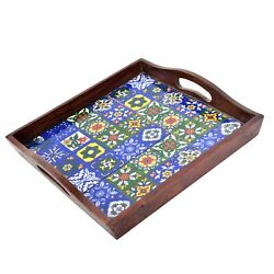 Torched Wooden Tiles Square Nesting Breakfast Coffee Table Butler Serving Trays