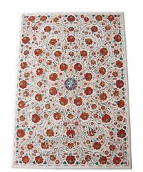 30 X 42 Inches Marble Dining Table Top Inlay Carnelian Stone Work Center Table
