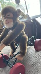 Vintage Monkey On Bike Steiff Plush Tricycle Early Toy Pull Toy Wood Wheels