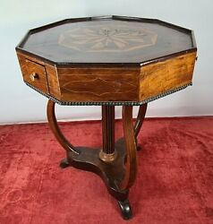 Sewing Table With Drawers. Mahogany Wood. Isabeline Style. Xix Century.
