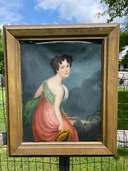 Antique American Portrait Oil Painting Wealthy Classical Woman Attributed Sully