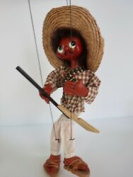 Original Packaging Vintage Mexican Mexico Hand Made Marionette Puppet Sombrero