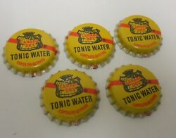 5 Vintage Canada Dry Tonic Water Bottle Caps Advertising Yellow Crafts.unused