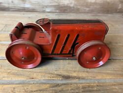 Vintage Original Early Tin Toy Marx Wind-up Crawler Climbing Tractor For Parts.
