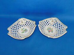 Herend Queen Victoria Pierced Serving Plate Pair Porcelain Vbo