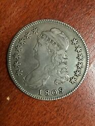 1809 Capped Bust Half Dollar Normal Edge Pleasing Vf Great Type Coin