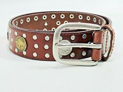 Buffalo Indian Head 1938 Nickels Studded Brown Leather Belt Size M