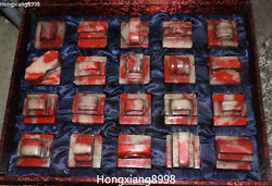 China Bloodstone Stone Ancient Dynasty 20 Pieces Warfare Words Seal Signet Set