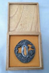 Tsuba Japanese Sword Guard Antique By Mumei Tiger Edo Period 300 Years Old