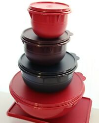 Tupperware 4 Pc. Round Mixing Bowl Container Set And Canister 2pc. Containers